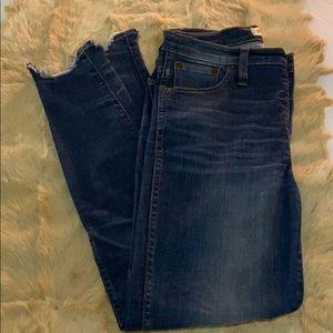 "Madewell 10"" high riser skinny jeans."